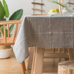 ColorBird Solid Embroidery Lattice Tablecloth Cotton Linen D