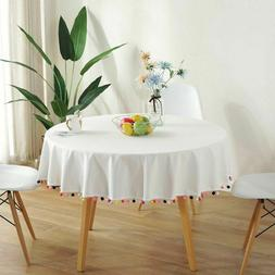 Solid Table Cloth Round Tablecloth Nappe Cover Banquet Party