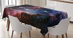 Ambesonne Space Decorations Tablecloth, Stars Nebula, Colorf