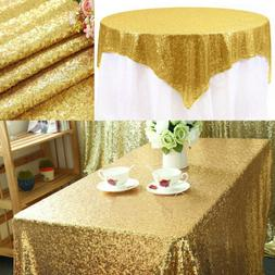 """Sparkly Gold Glitter Sequin Tablecloth Table Cover 40""""x59"""" W"""