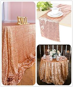 "B-COOL 90""x132"" rectangle Rose Gold sequin tablecloth Sparkl"