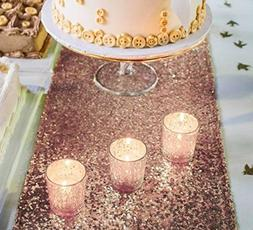Haperlare 12 x 108 inch Sparkly Sequin Rose Gold Table Runne