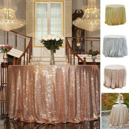 Round Sequin Glitter Tablecloth Sparkly Table Cloth Cover We
