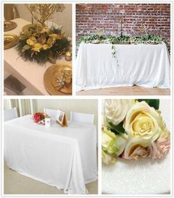 """QueenDream sparkly tablecloth 90""""x132""""white sequin tableclot"""