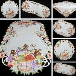 Spring Easter bunnies eggs Embroidery Table runner Tableclot