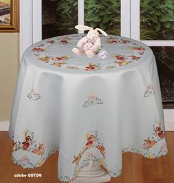 Creative Linens Spring Embroidered Easter Bunny Egg Floral T