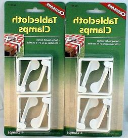 """8 PK SPRING LOADED TABLECLOTH CLAMPS FITS TABLES UP TO 2"""" TH"""