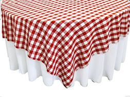 Square 90x90 inch Checkered Tablecloth By Runner Linens Fact