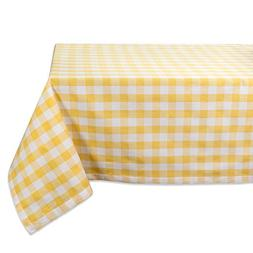"DII 60x104"" Rectangular Cotton Tablecloth, Yellow & White Ch"