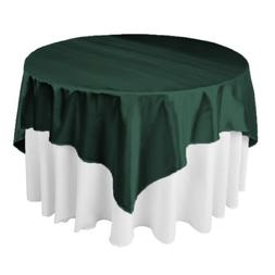 LinenTablecloth 72-Inch Square Satin Overlay Hunter Green