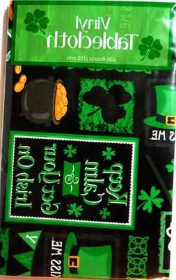 ST PATRICK'S DAY RECTANGLE TABLE CLOTH BLACK CLOTH w/MULTI I