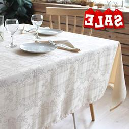 Stain Resistant Tablecloth Polyester Beige Table Cover - Rec