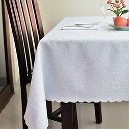Stain Resistant Turkish White Tablecloth Polyester
