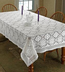 stars crochet vintage lace tablecloth