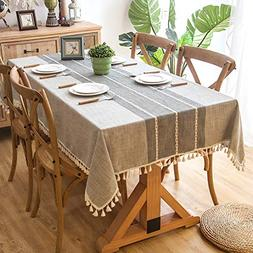 Melaluxe Stitching Tassel Tablecloth Heavy Weight Cotton Lin