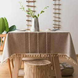 ColorBird Stitching Tassel Tablecloth Heavy Weight Cotton Li