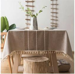 Stitching Tassel Tablecloth Heavy Weight Cotton Link Rectang