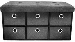Sorbus Storage Bench Chest with Drawers – Collapsible Fold