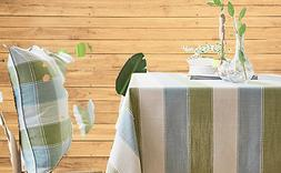 LINENLUX Striped Cotton Linen Tablecloth/Table Cover with Ta