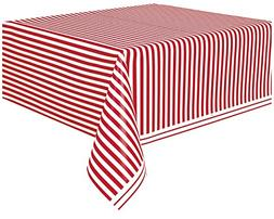 "Red Striped Plastic Tablecloth, 108"" x 54"""