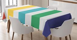 Ambesonne Striped Tablecloth, Rainbow Colored and White Fun