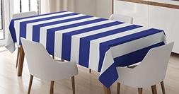 Striped Tablecloth by Ambesonne, Nautical Marine Style Navy