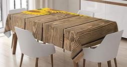 Ambesonne Sunflower Decor Tablecloth, Three Sunflowers are o
