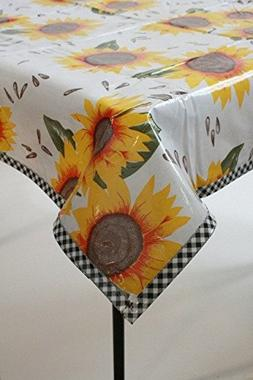 Sunflowers on White with Black Gingham Trim Oilcloth Tablecl