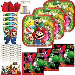 Super Mario Brothers Party Supplies Pack Serves 16: Dessert
