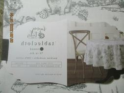 """BUNNY TALES  TABLE CLOTH 70""""  ROUND TOILE PATTERN BUNNIES CH"""