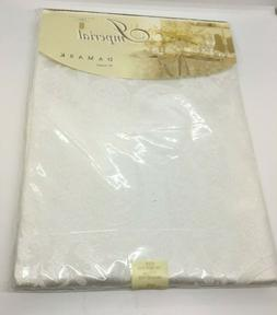 """Table Cloth Beautiful Floral Damask White Imperial 70"""" Round"""