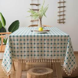 Table Cloth Cover Tablecloth Modern Soft Cotton Linen With T