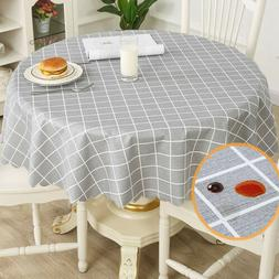 Table Cloth Grids Pattern Waterproof Round Tablecloth Oil-Pr