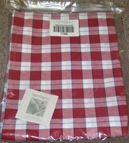 Longaberger TABLE CLOTH Red and White PICNIC PLAID 52 x 116