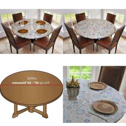 """Table Cloth Round 45"""" To 56"""" Elastic Edge Fitted Vinyl Table"""