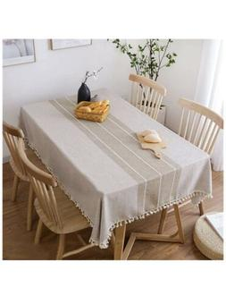 Table Cloth Tassel Cotton Linen Table Cover for Kitchen Dinn