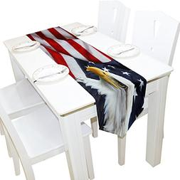 ALAZA Table Runner Home Decor, American Flag with Eagle Tabl