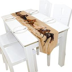 ALAZA Table Runner Home Decor, Stylish Horse Herd in Desert