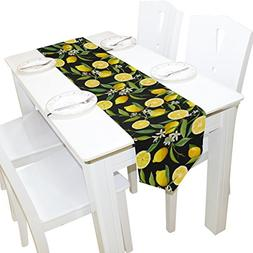 ALAZA Table Runner Home Decor, Stylish Yellow Lemon with Flo