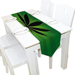 ALAZA Table Runner Home Decor, Stylish Black Cannabis Leaf T