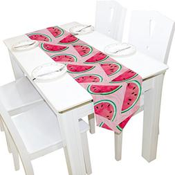 ALAZA Table Runner Home Decor, Stylish Watercolor Watermelon