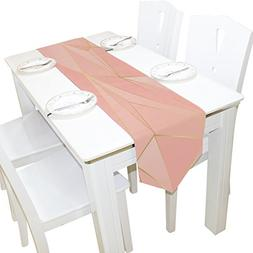 ALAZA Table Runner Home Decor, Stylish Rose Gold Geometric T