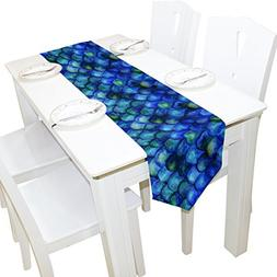 ALAZA Table Runner Home Decor, Watercolor Fish Scales Bright