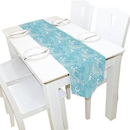 ALAZA Table Runner Home Decor, Japanese Blue Ocean Waves Tab