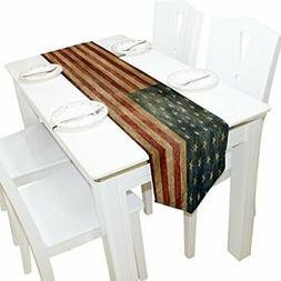 ALAZA Table Runner Home Decor Vintage American Flag Table Cl