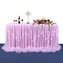 LED Table Skirt Pink Tulle Table Skirt Light Up Tutu Table S