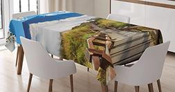 Nature Tablecloth by Ambesonne, Cloudy Mountain Valley Road