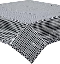 Freckled Sage Oilcloth Tablecloth Black Gingham with Black G