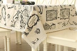 Famibay Tablecloth, Cotton and Linen Blended Rectangular Tab