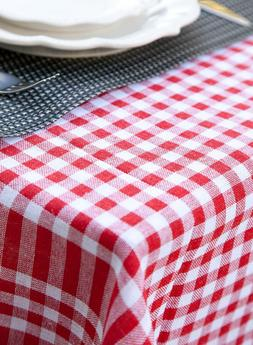 Tablecloth Cotton Linen Blend Farmhouse Checker Plaid Gingha